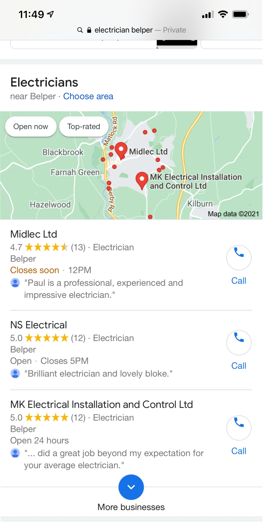 google 3 pack results for ns electrical belper